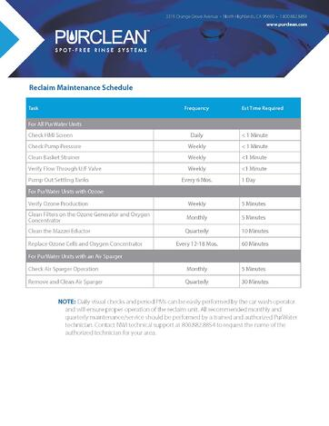 Reclaim Maint Schedule_012121